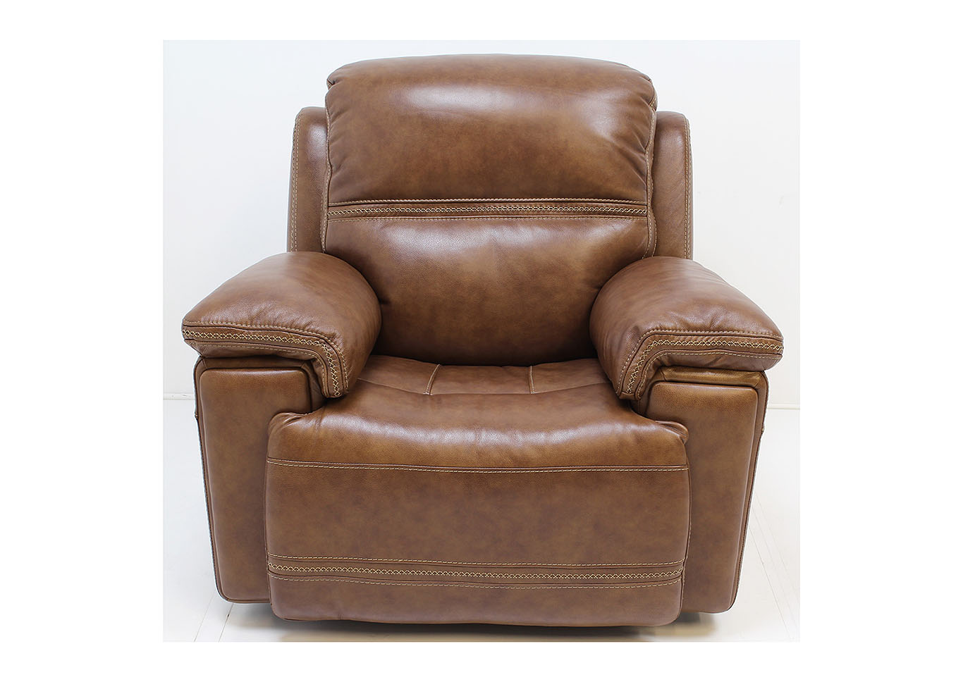 Fenwick Leather Power Glider Recliner by Flexsteel,Old Brick