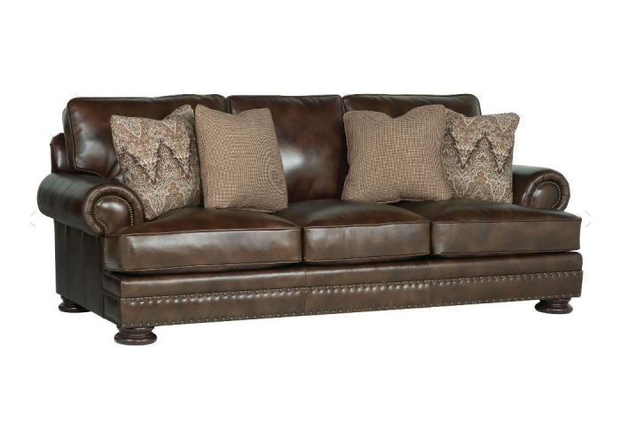 Attrayant Foster Leather Sofa By Bernhardt,Old Brick