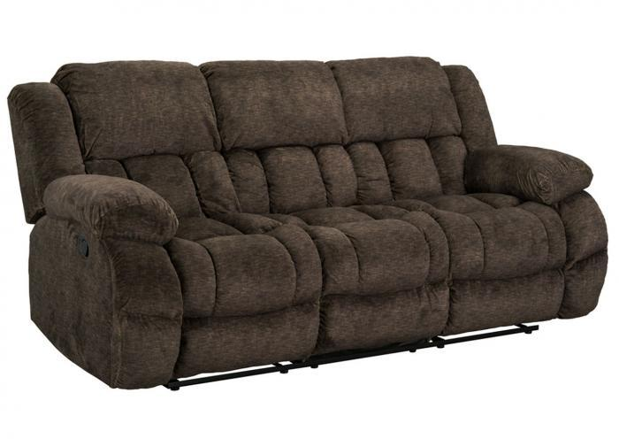 SEYMORE RECLINING SOFA WITH DROP DOWN TABLE by STANDARD FURNITURE MFG. CO. INC. ,Old Brick