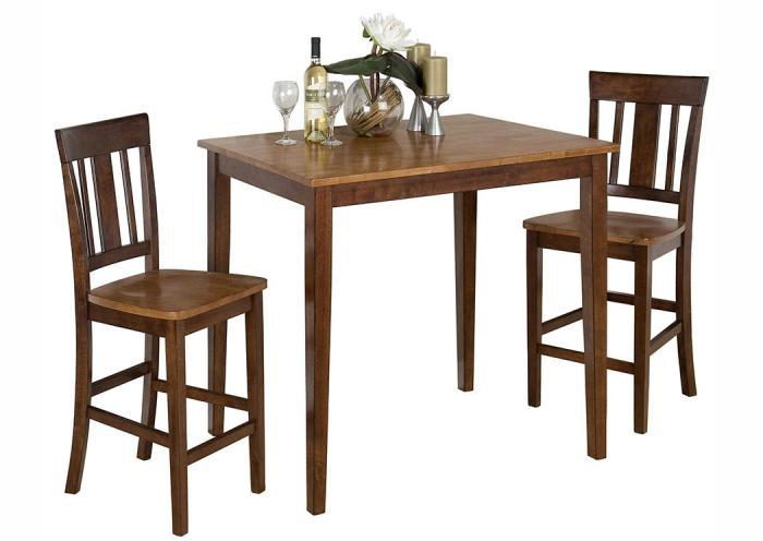 Kura 3 Piece Dining Set includes pub table & 2 stools,Old Brick