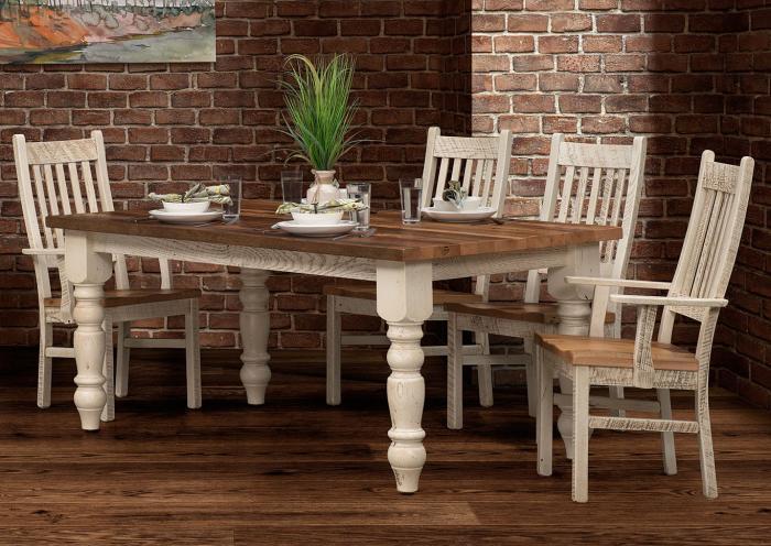 The Old Brick Furniture Company Farmhouse Solid Oak 7 Piece Dining