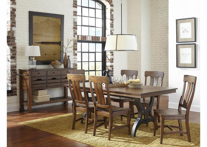 The District 7-Piece Dining Set,Old Brick