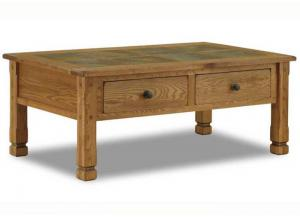 Sedona Rustic Oak Coffee Table w/Slate Top