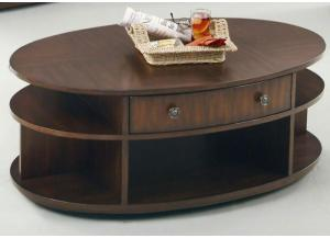 Metropolitan Oval Lift Top Cocktail Table On Casters