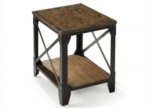 Pinebrook Small Rectangular End Table w/Rustic Iron Legs