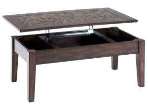 Baroque Brown Lift Top Cocktail Table w/Mosaic Tile Inlay