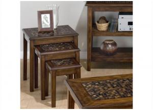 Baroque Brown 3-Piece Nesting Chairside Table w/Mosaic Tile Inlay