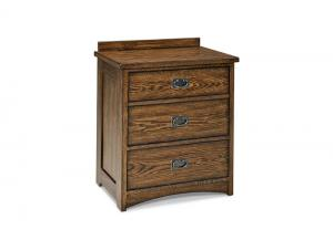Oak Park Solid Oak Mission Nightstand w/Cedar Drawers and Built In Charging Station