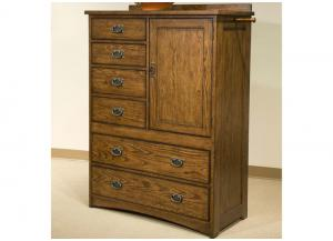 Oak Park Solid Oak Mission Chest w/6 Drawers w/Cedar. Adjustable Shelves Behind Door