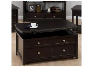 Corranado Espresso Casual Espresso Lift-Top Cocktail Table w/2 Pull-Through Drawers & Casters