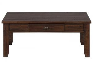 Urban Lodge Brown Casual One Drawer Coffee Table w/Tapered Block Legs