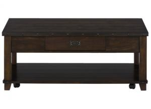 Cassidy Brown Metal Banded Plank Top Cocktail Table w/Pull Thru Drawer On Casters