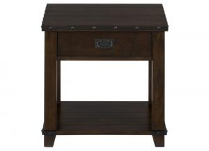 Cassidy Brown Traditional Plank Top End Table w/Drawer, Shelf and Nail Head Treatment
