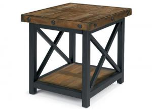 Carpenter Rectangle End Table w/Metal Base
