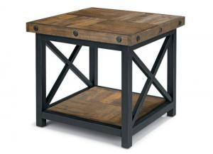 Carpenter Square End Table w/Wood Plank Top