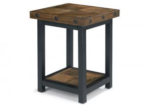 Carpenter Chair Side Table w/Square Reclaimed Wood Top
