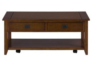 Mission Oak Castered Cocktail Table w/2 Pull-Thru Drawers