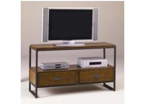 Baja Entertainment Console w/Distressed Woodwork and Metal Frame