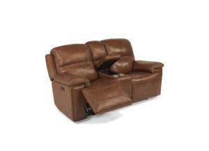 Fenwick Leather Power Reclining Console Loveseat w/Power Headrest by Flexsteel