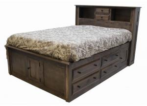 Simplicity Queen Storage Bed w/Bookcase Headboard by Daniels Amish