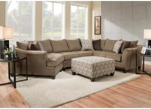 6485 3pc Sectional w/ cuddler end by United