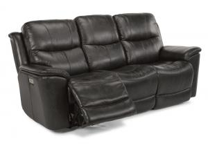 Cade Leather Triple Power Reclining Sofa by Flexsteel