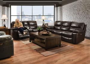 59942 Leather Double Power Reclining Sofa by Lane