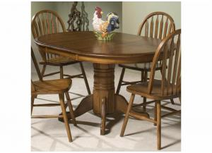 Classic Oak Single Pedestal Round Dining Table