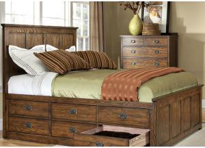 Oak Park Mission Queen Storage Bed