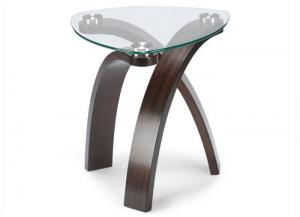 Allure End Table w/Glass Top and Bent Wood Legs