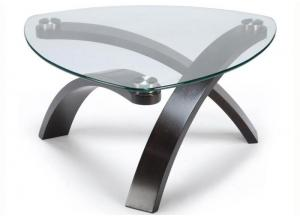 Allure Cocktail Table w/Glass Top and Bent Wood Legs