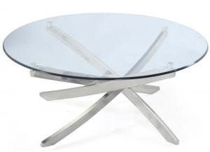 Zila Round Cocktail Table w/Tempered Glass Top and Strut Base