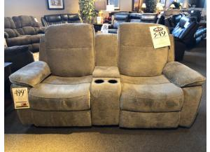 CLEARANCE- Klaussner Reclining Console Loveseat