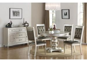 Silver Dinette Set table w/4 Chairs