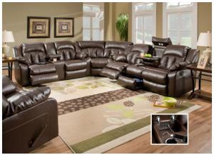Sebring Coffebean Bonded Leather Double Motion Sofa w/Storage/Table/Lights, Loveseat w/Console & Matching Swivel Recliner 50325