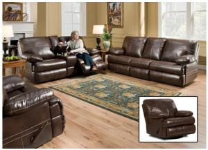 Miracle Saddle Bonded Leather Double Motion Sofa, Double Motion Loveseat & Swivel/Glider Recliner 50981
