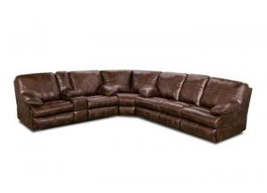 Miracle Saddle Bonded Leather Double Motion Sectional 50981