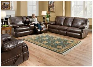 Miracle Saddle Bonded Leather Stationary Sofa & Double Motion Loveseat 50981
