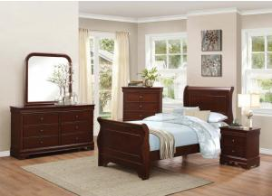 Homelegance Traditional Cherry Twin Sleigh Bed