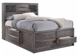 Image for Elements Emily Grey Full Storage Bed w/ Bookcase Headboard