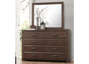 Contemporary Espresso Dresser and Mirror