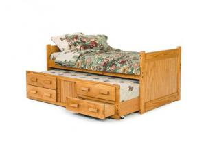 Woodcrest Twin Captains Bed With Trundle