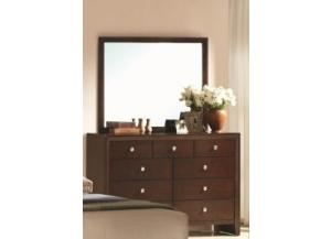 Crown Mark Contemporary Dark Brown Dresser & Mirror