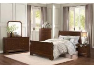 Homelegance Traditional Cherry 5 Pc. Queen Bedroom Group - Headboard, Footboard, Rails, Chest, Nightstand