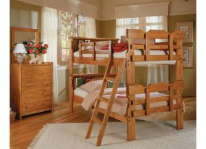 Woodcrest Heartland Bookcase Scalloped Bunk Bed
