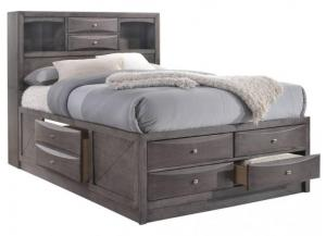 Elements Emily Grey Queen Storage Bed w/ Bookcase Headboard