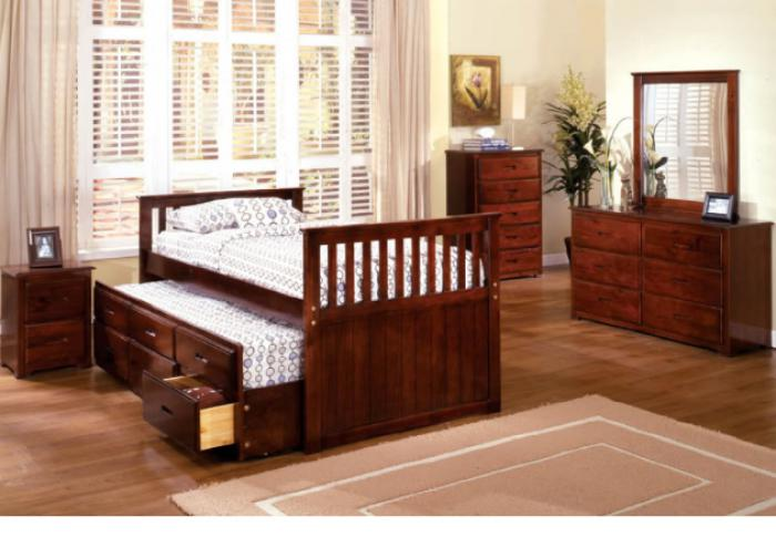 Montana II Twin Captain Bed w/Trundle & Storage Drawers,Furniture of America