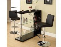 Black Bar Table w/Wine Glass Holder