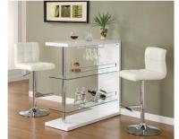 White Bar Table w/Wine Glass Holder