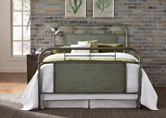 Vintage Metal Green Queen Bed,LIBUM